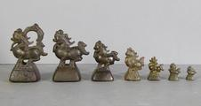 7 Burmese bronze animal-shaped <br/> opium weights
