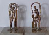 Pair of bronze sculptures <br/> of standing nudes